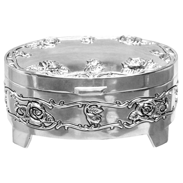 Sophia Oval Silverplated Trinket Box - Antique Rose product image