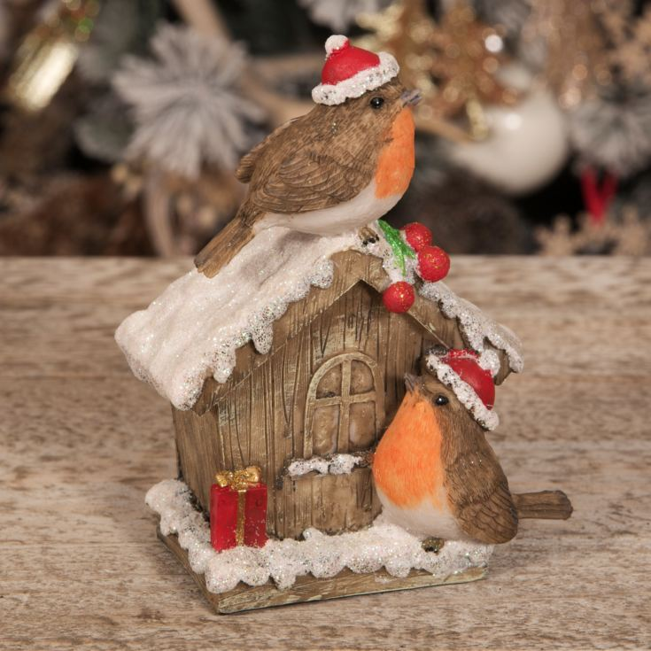 Hand Painted Resin Robins on House Figurine product image