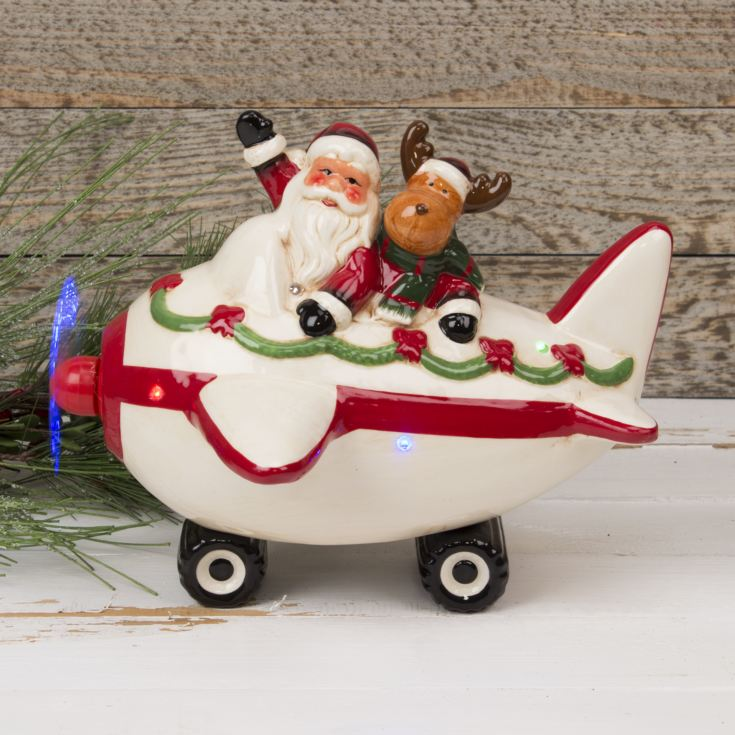 Ceramic Musical Santa in Plane Ornament with LED Lights product image