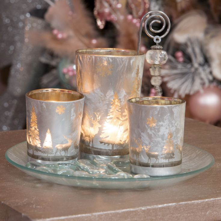 Set of 3 Glass Votive Holders on Glass Tray & Stones product image