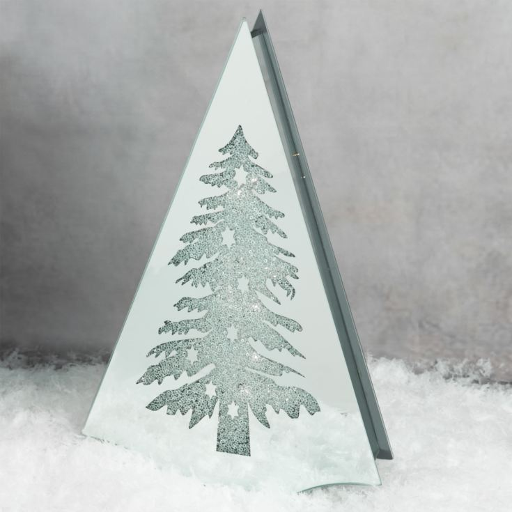 Silver Glass LED Light Up Tree - Christmas Tree 44.5cm product image