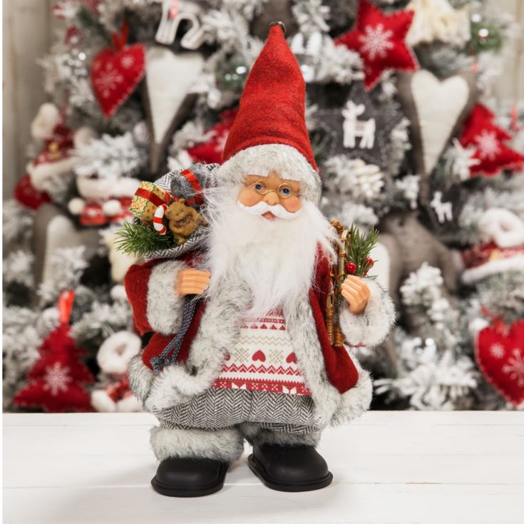 Animated Walking Musical Santa Red & Grey Coat 25cm product image