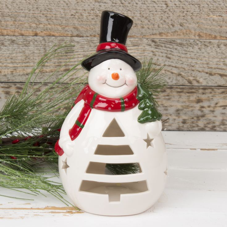 Snowman Ceramic Tealight Holder product image