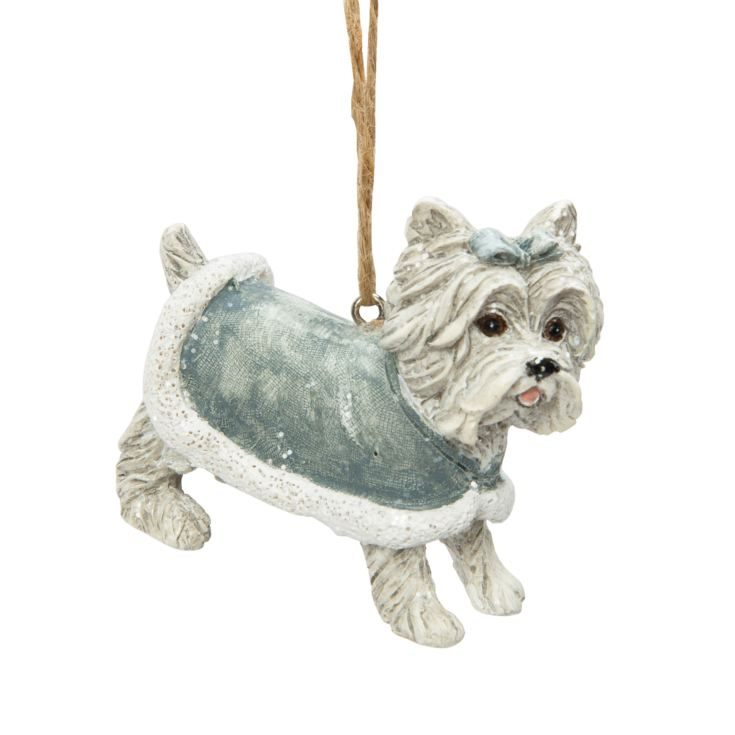 Dog with Silver Coat Hanging Tree Ornament product image