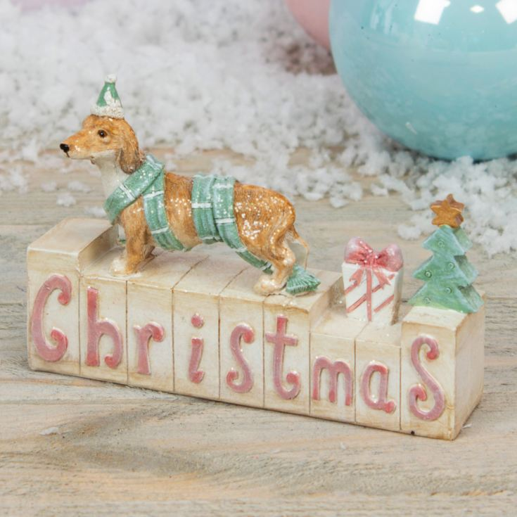 Resin Dog Mantel Block - Christmas product image