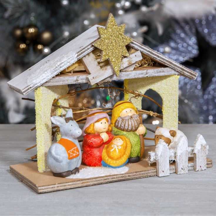 Ceramic 4 Figurine Nativity Set with Light Up Stable product image