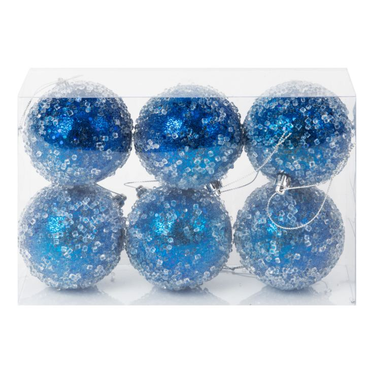 6 Assorted Blue Glitter & Bead Baubles product image