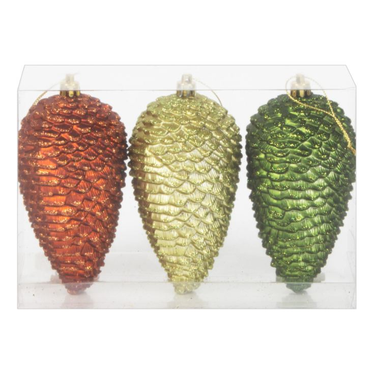 Set of 3 Green & Brown Pinecone Tree Ornaments product image