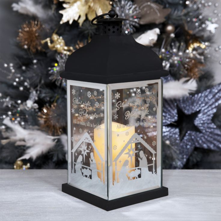 Metal Lantern with LED Candle - Silent Night product image