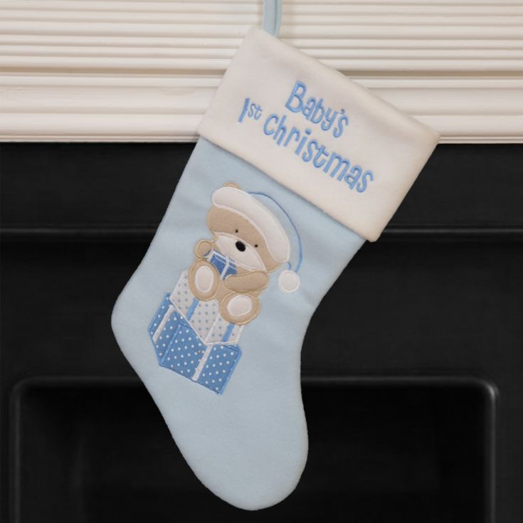Baby's 1st Christmas Blue Stocking with White Trim & Teddy product image