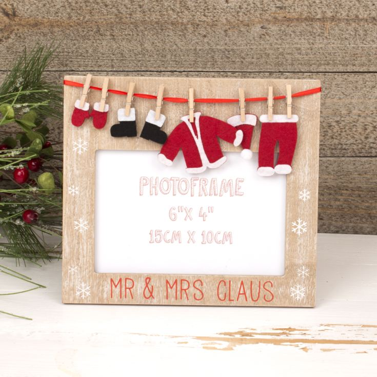 "Washing Line Collection Mr & Mrs Claus Photo Frame 6""x4"" product image"