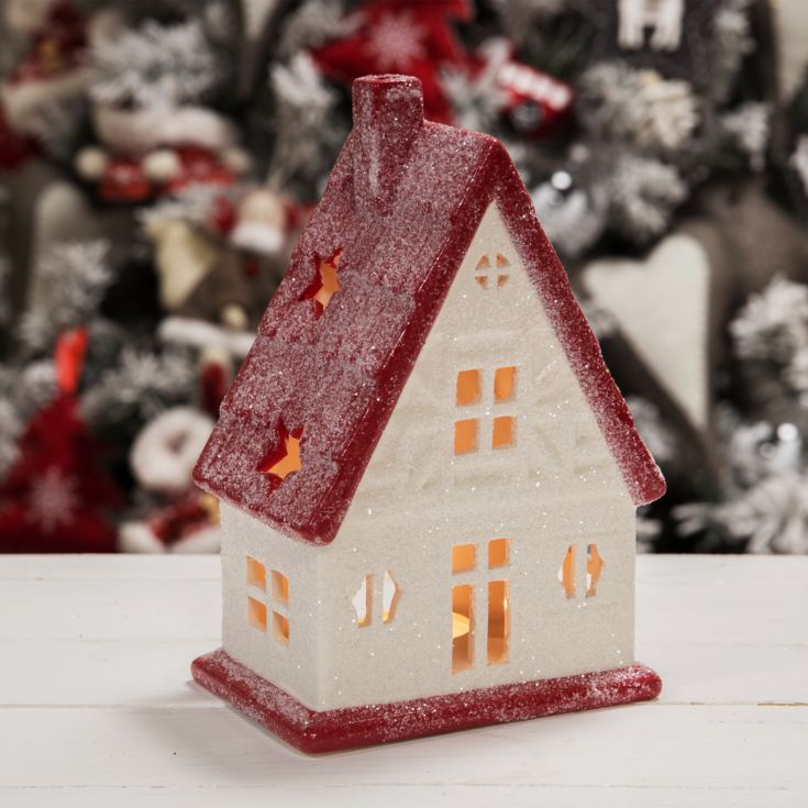 White & Red House Tealight Holder 19.5cm product image
