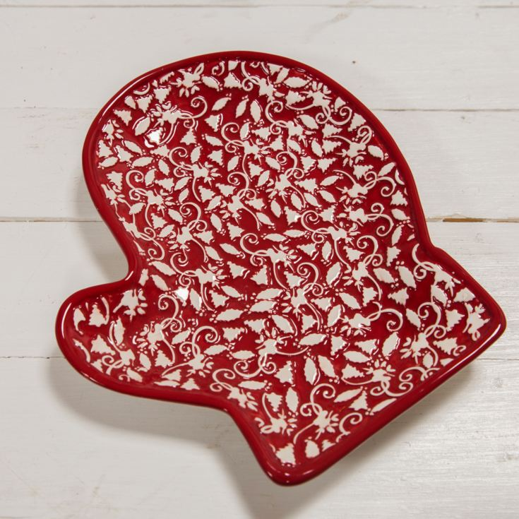 Red & White Mitten Shaped Plate 20cm product image