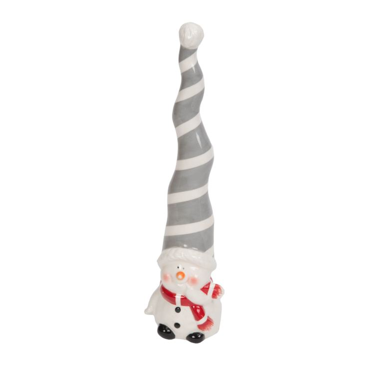 Snowman Figurine with Tall Grey & White Striped Hat 26.5cm product image