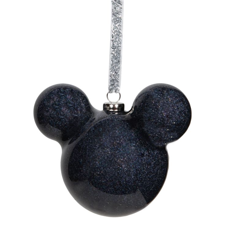 Disney Mickey Mouse Black Glitter Bauble 6cm product image