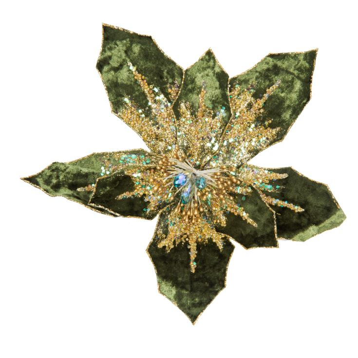 Dark Green Poinsettia Tree Clip 20cm product image