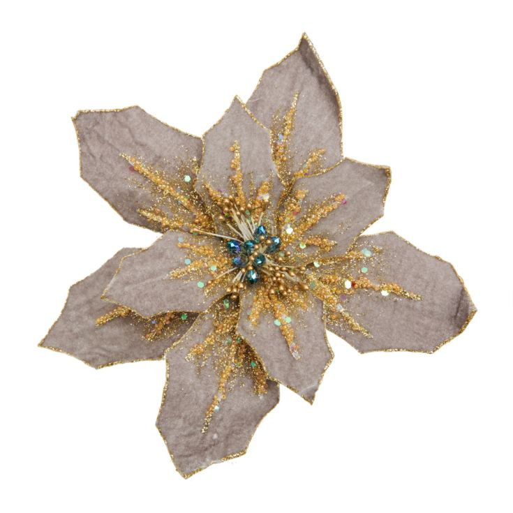 Grey Poinsettia Tree Clip 20cm product image