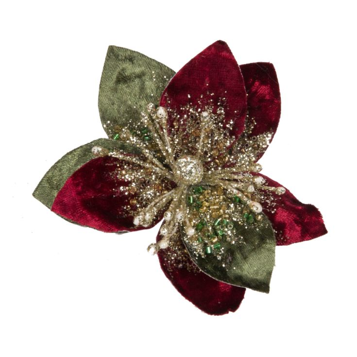 Red & Green Poinsettia Tree Clip 9cm product image