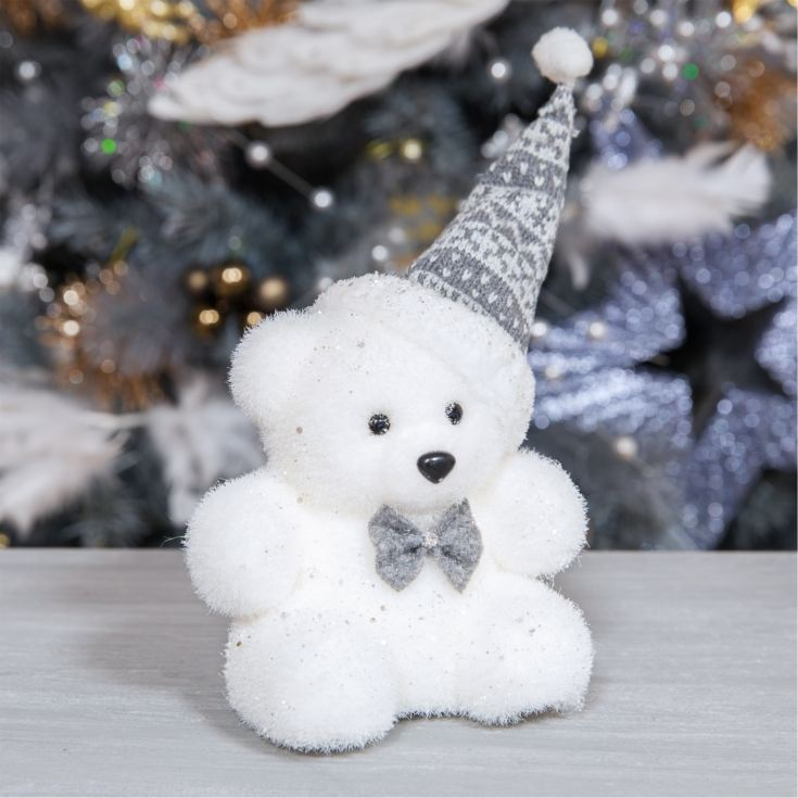 White Bear Ornament Wearing Grey and White Hat product image