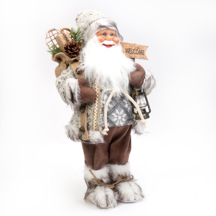 "Beige Santa with Welcome Sign 18"" product image"