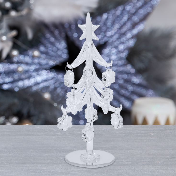 Decorative Glass Tree with Snowflake Decorations 20cm product image