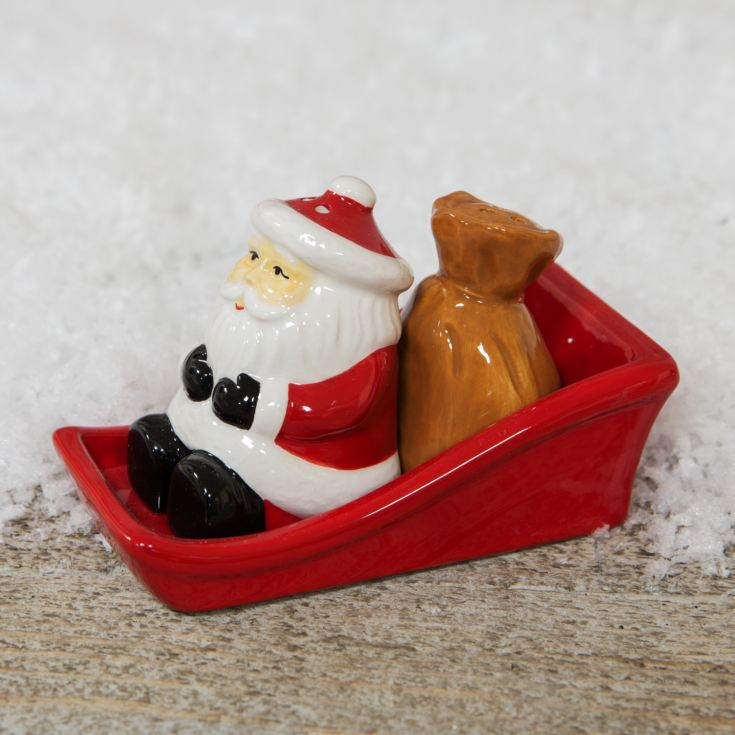 Santa & Sack in Sleigh Salt and Pepper Shakers product image
