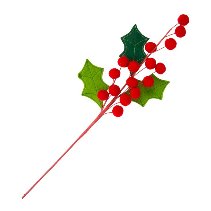Red & Green Holly Single Stem Pick 61cm product image