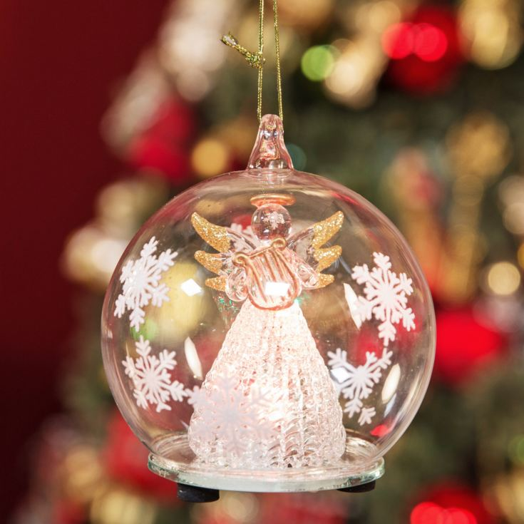 LED Glass Bauble Angel Holding Harp product image