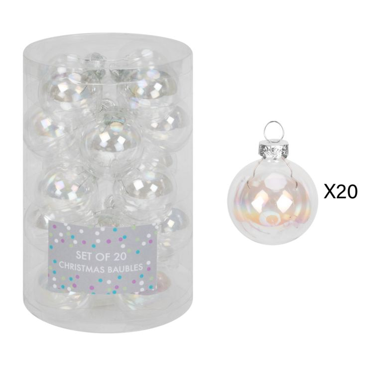 Set of 20 Holographic Silver Glass Baubles 45mm product image