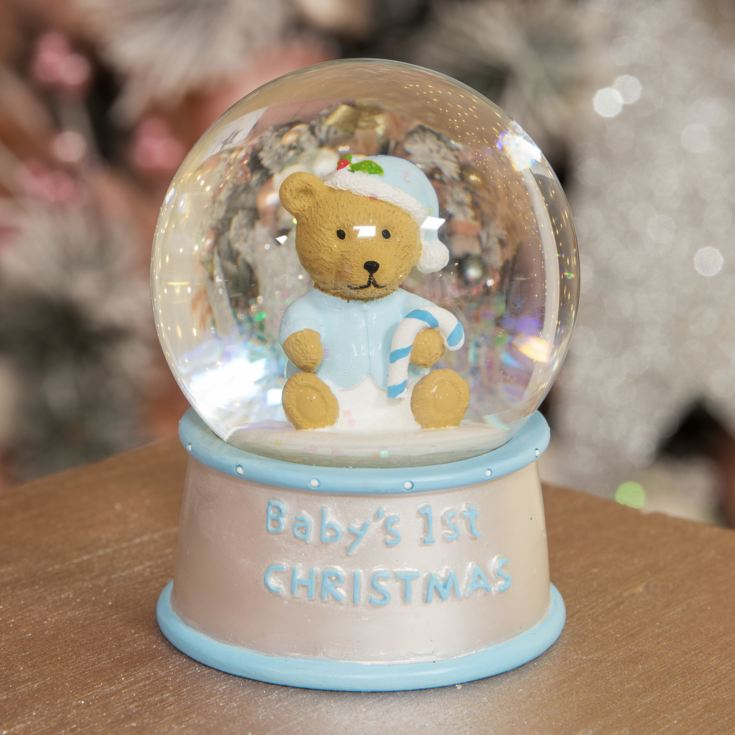 Hand Painted Blue Baby's First Christmas Snow Globe product image