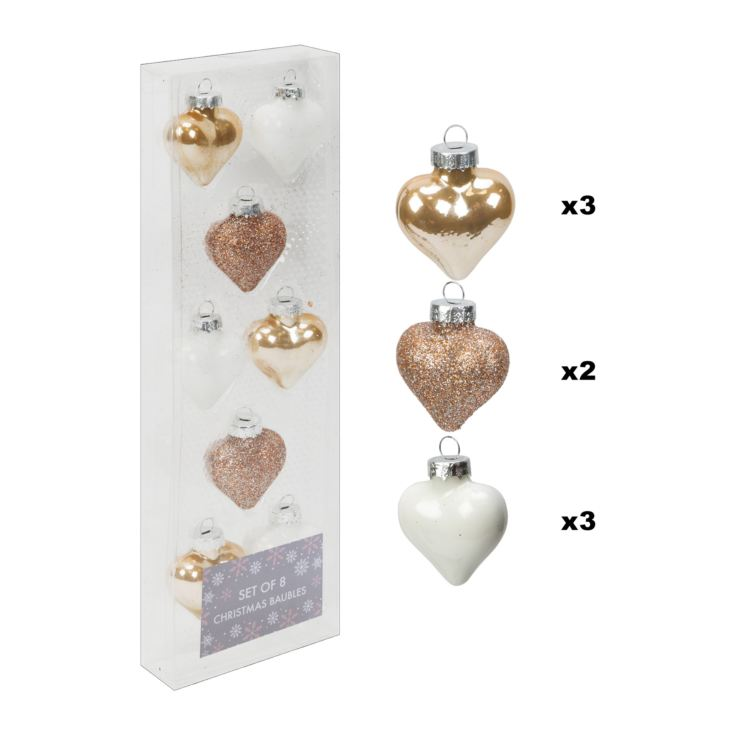 Set of 8 Gold & White Glass Heart Baubles 5cm product image