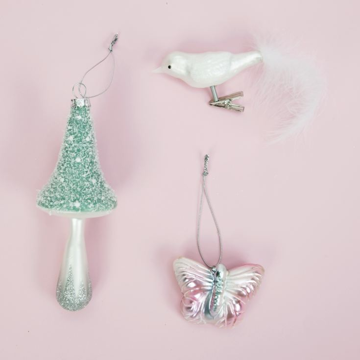 Set of 3 Baubles - Mushroom, Bird & Butterfly product image