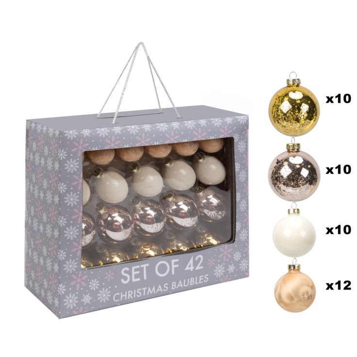 Set of 42 Rose Gold & Gold Glass Baubles product image