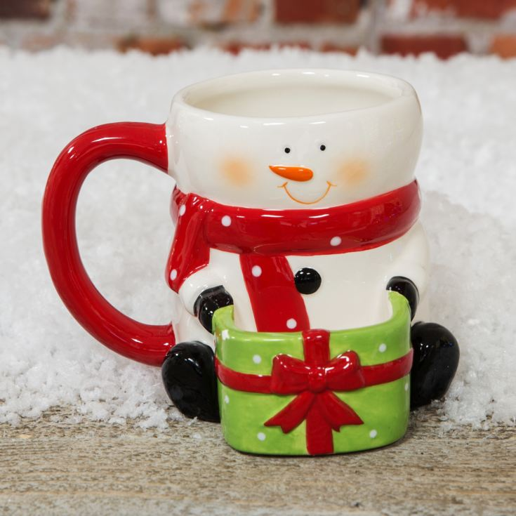 Snowman Holding Gift Cookie Holder Mug product image