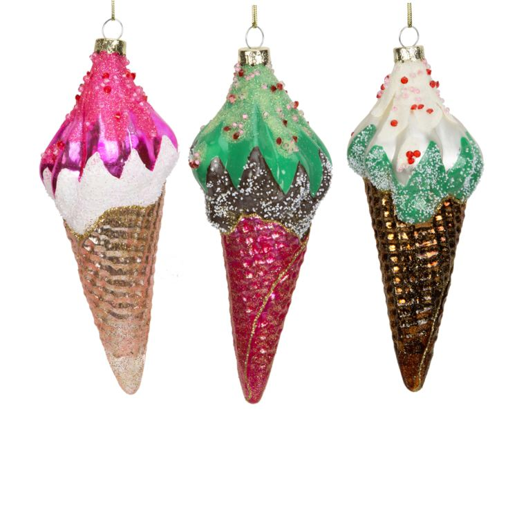 Set of 3 Glass Ice Cream Baubles product image
