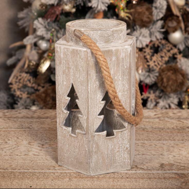 Large Wood Effect Lantern for LED Candle with Cut Out Tree product image