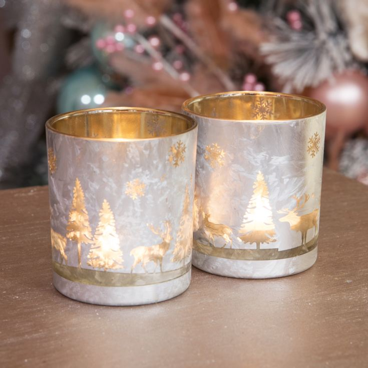 Set of 2 Silver Forest Scene Candle Holders product image