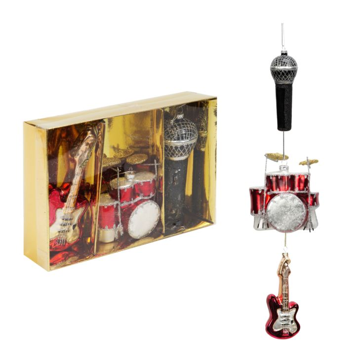 Set of 3 Music Themed Glass Baubles product image