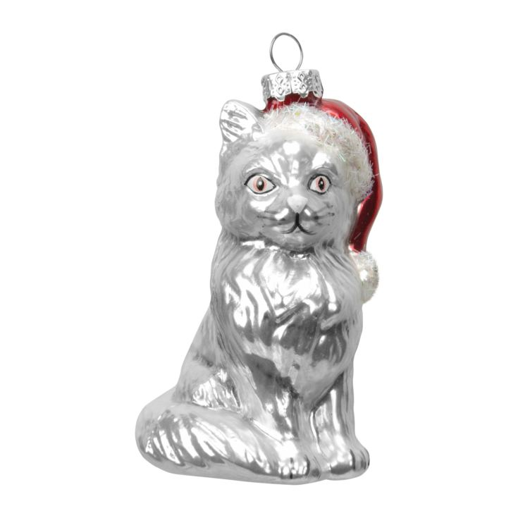 Cat with Santa Hat Baubles product image