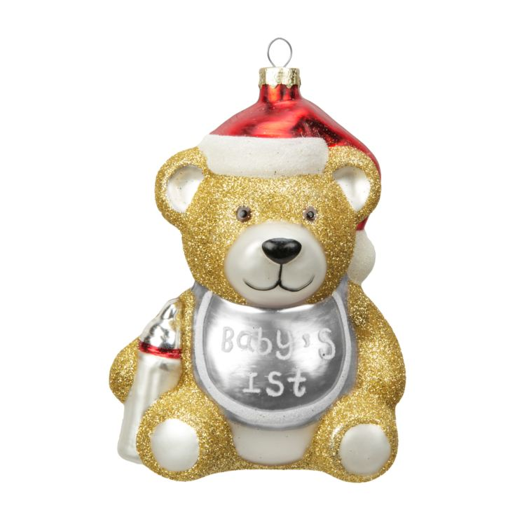 Baby's 1st Bear Silver Bib Hanging Decoration product image