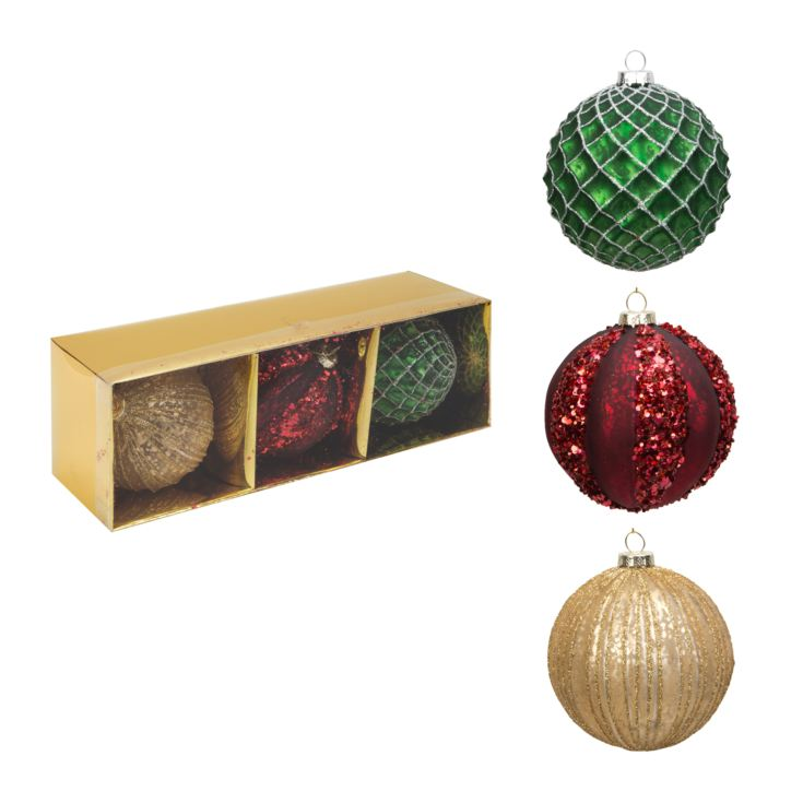 Set of 3 Round Glass Baubles Red/Gold/Green 9cm product image