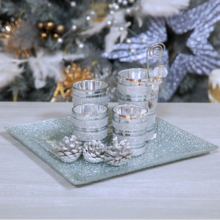 Set of 4 Silver Glass Votive Holders on Tray product image