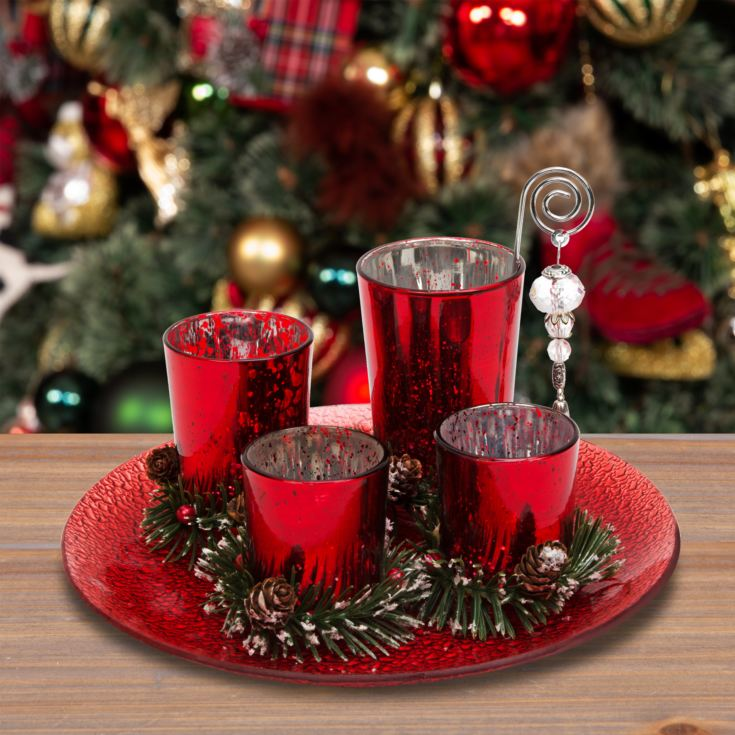 Set of 4 Red Glass Votive Holders on Tray with Pine Cones product image