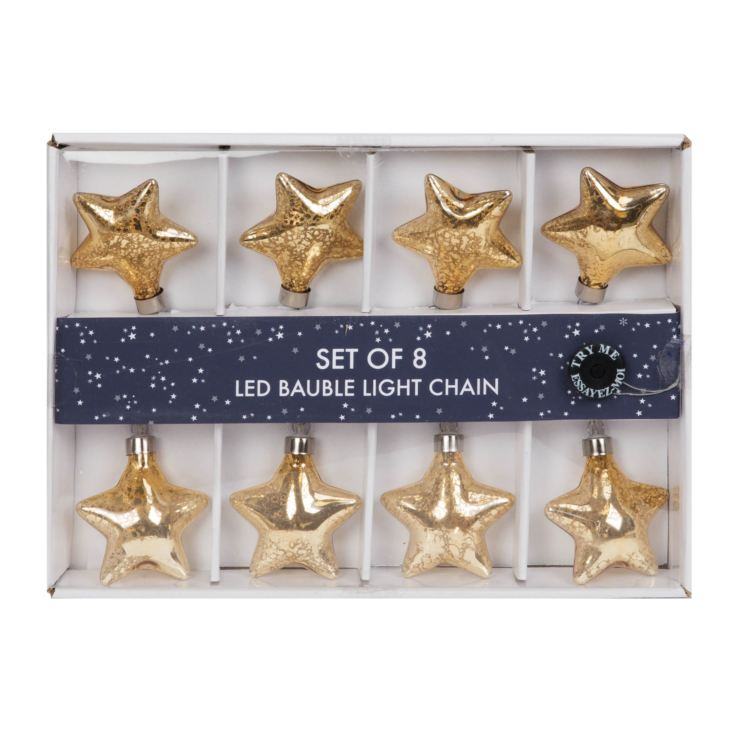 8 Glass Gold Star Bauble LED Light Chain product image