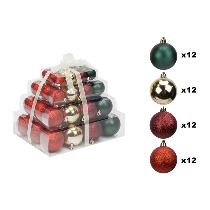 Set of 48 Baubles - Red, Gold & Green product image