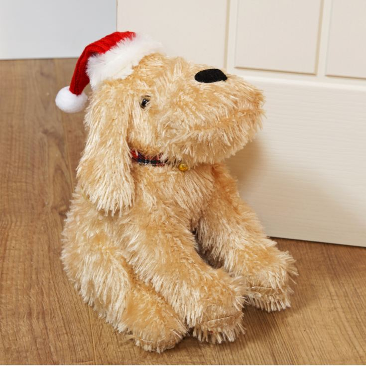 Blonde Dog Doorstop with Tartan Bow Collar product image
