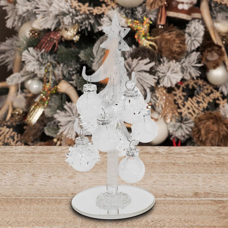 Small Decorative Clear Glass Tree with Frosted Baubles 15cm product image