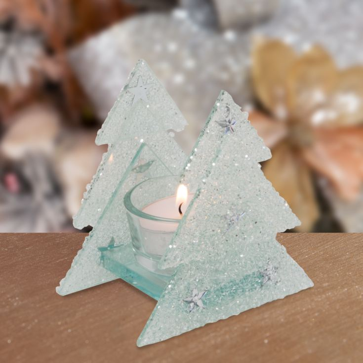 Glass Glitter Christmas Tree Single Tealight Holder product image
