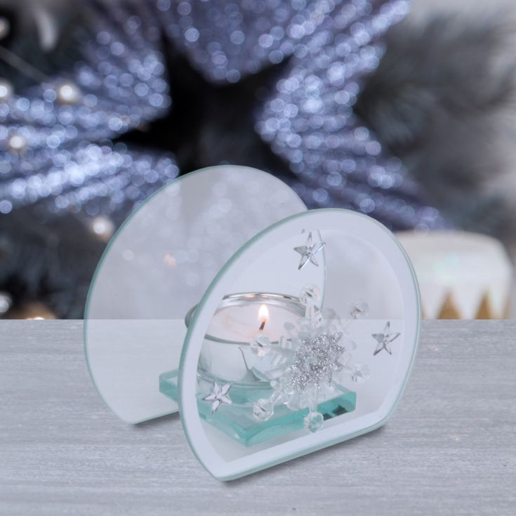 Glass Single Tealight Holder - Snowflake Design product image