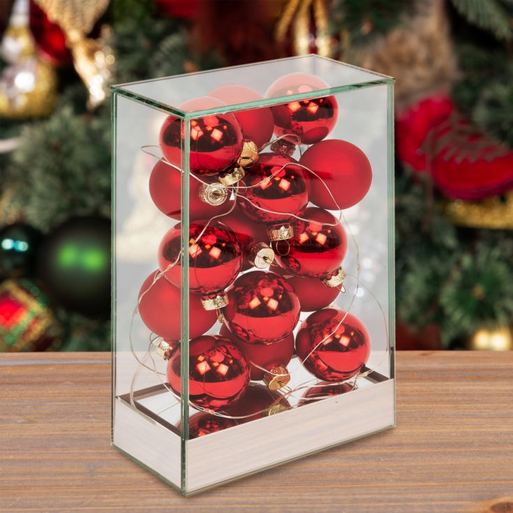 Glass Tower with LED Lights and Red Baubles product image